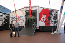 real art roadshow truck opened out